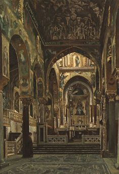 24. Frederic, Lord Leighton of Stretton, 1830-1896, 'Cappella Palatina, Palermo':  Leighton's Arab Hall in his house in Kensington was partly suggested by the unique fusion of Moslem and Christian styles of the 12th Century Norman buildings he found in Sicily like the Palace of La Zisa, and the Cappella Palatina in Palermo – the Royal chapel of the Norman Kings of Sicily.
