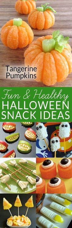 Sick of so much sugar at Halloween? These healthy Halloween snack ideas are fun for kids. Make easy tangerine pumpkins with your kids this fall or try one of the other healthy Halloween treats. http://healthyquickly.com