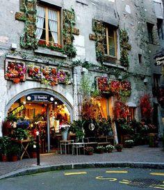 Quaint little flower shops, inner streets of Annecy - France