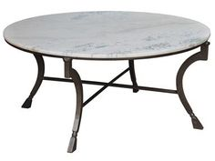 Sarreid Living Room Camargue Round Coffee Table, White Marble 27119 at Batte Furniture - Batte Furniture - Jackson, MS