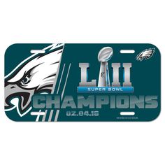 WinCraft Philadelphia Eagles Super Bowl LII Champions Plastic License Plate aabea723a