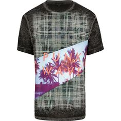 Black tartan punk wave print t-shirt - print t-shirts - t-shirts / vests - men