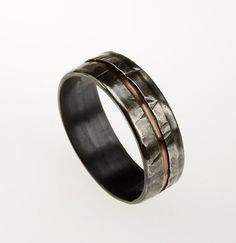 Mens Wedding Band Rustic Men's Ring Silver Copper Ring