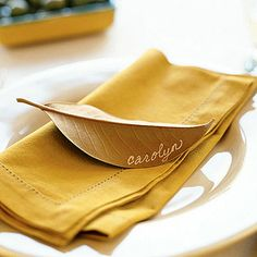 Leaf Place Card... cute for a fall dinner party