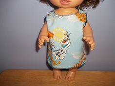 Baby 12 inch Alive doll handmade dress light blue with Olaf on it by sue18inchdollclothes on Etsy