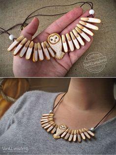 """Barn Owl necklace / """"Złota"""" sowa na szyję Wooden Jewelry, Handmade Jewelry, Owl Crafts, Bijoux Diy, Wood Carving, Wood Art, Jewelry Crafts, Creations, Jewelry Design"""
