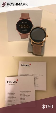 Gold Fossil smart watch Barley used! Can be used for apple and android device Fossil Jewelry