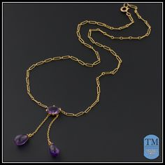 Antique Edwardian 9ct Gold & Amethyst Negligee Necklace from trademark on Ruby Lane