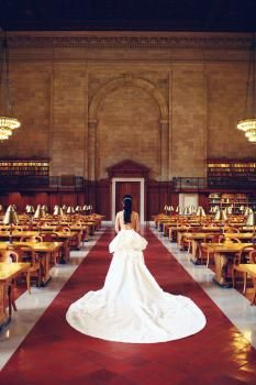 Wedding at NYPL - bride in the Rose Room.