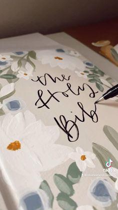 Gift Drawing, Bible Drawing, Art Painting Gallery, Diy Painting, Diy Canvas Art, Canvas Word Art, Cute Bibles, Wedding Drawing, Wedding Bible