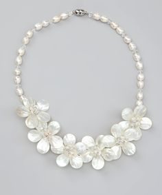 21e5b2b5f White Pearl   Crystal Flower Necklace