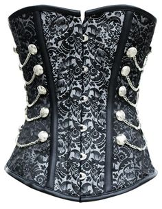 Love the new corset in our Sherlock line! That silver brocade is just so luxe, and so perfectly steampunk with the chains on the side. New fave! The Violet Vixen - Sherlock Stepper Silver Corset, $115.00 (http://thevioletvixen.com/corsets/shop-by-color/silver-corsets/sherlock-stepper-silver-corset/) steel boned authentic corset silver brocade chains black trim