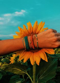 Dreaming Outloud Pack This set of five bracelets perfectly captures the bold colors and boho feel of her gorgeous feed, and features dreamy designs that give off a free-spirit sorta vibe. Bohemian Bracelets, Gemstone Bracelets, Boho Jewelry, Silver Jewelry, Summer Vibes, Collage Mural, Sunflower Jewelry, Sunflower Pics, Pura Vida Bracelets