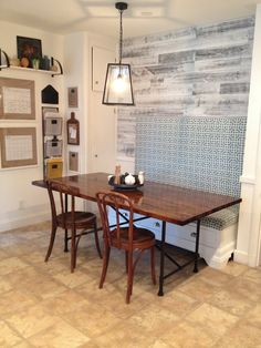 Rustic Industrial butcher block table with metal base - IKEA Hackers Butcher Block Dining Table, Diy Dining Table, Butcher Blocks, Kitchen Tables, Furniture Makeover, Diy Furniture, Stained Table, Steel Furniture, Rustic Industrial