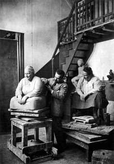 Gertrude Stein sitting for Jo Davidson, photographed by Man Ray for Vanity Fair, c. 1922.