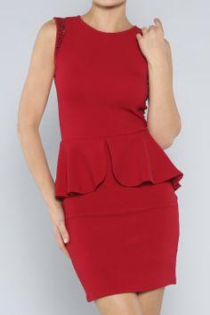 Studded Peplum Dress #wholesale #clothing #fashion #love #ootd #wiwt #dresses #LBD #holiday #mini #maxi #pencil #holiday #red
