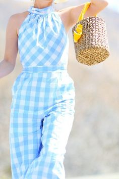 The Cutest Gingham Jumpsuit for Summer Gingham Jumpsuit, Jumpsuit Outfit, White Jumpsuit, Ootd, Summer Set, Blue Gingham, Couture, Flower Fashion, Spring Summer Fashion