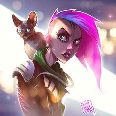 ArtStation - Cat & Punk Girl, Jarkko 'JAKKE' Vanhalakka