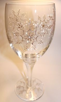 Snowflake Wine Glass Snow Winter Frost Holidays by FlutterbyGlass