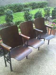 Antique theater seats--perfect for an entryway. I have three in our entryway and love them.