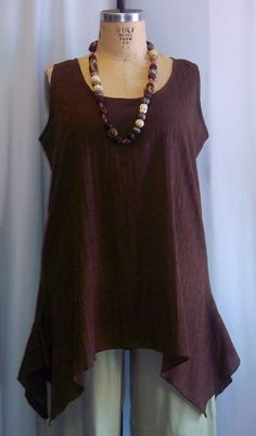 Coco and Juan Lagenlook Plus Size Chocolate Brown Cotton Gauze Angled Tank Top Size 2 Fits 3X,4X Bust 60 inches