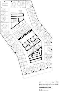 Gigon+Guyer+Architekte+Prime+Tower+Zurich Mix Use Building, High Rise Building, Urban Architecture, Architecture Drawings, Gigon Guyer, Office Building Plans, Shading Device, Office Workspace, Plan Design