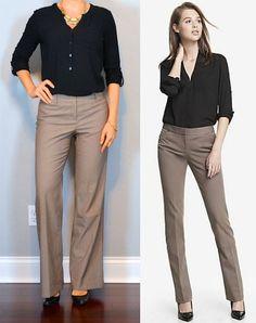 outfit post: black button up shirt, brown pants, black pumps