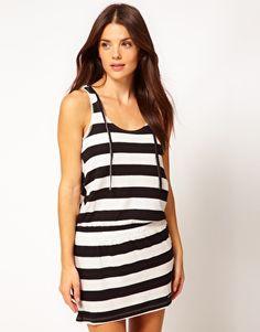 Roxy Stripe Beach Dress with Hood
