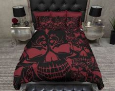 Lightweight Pink Lilly Skull Bedding Black and Pink by InkandRags