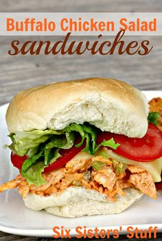 Buffalo Chicken Salad Sandwiches from SixSistersStuff.com- so easy to prepare and no oven required! #buffalochickensliders