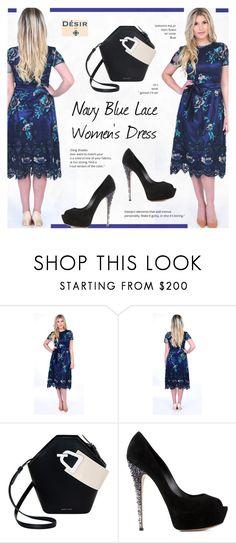 """3. Desirvale : Navy Blue Lace Women's Dress V Back Short Sleeves Sash"" by novalikarida ❤ liked on Polyvore featuring Danse Lente and Casadei"