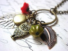 Whimsy Owl  Charm Necklace  Vintage Locket  by CreationsbyJuliann, $24.50