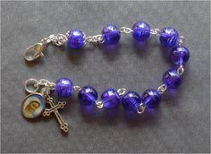 Religious Mary  8mm Blue/Purple Swirl Glass by JaysReligiousGifts