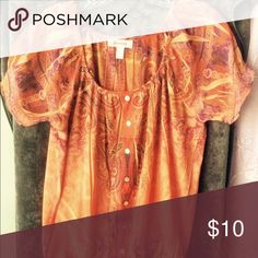 Festive fall top! Purple and orange paisley top runs big. Tops Blouses