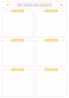 calendrier d'une semaine a imprimer
