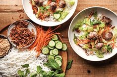Vermicelli Noodles with Lemongrass Pork Meatballs  and FISH SAUCE!/