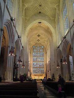 Nave Interior de la Catedral de Bath en Inglaterra (Reino Unido)