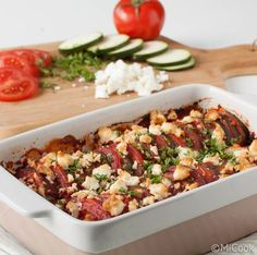 Healthy / Zucchini & tomato in the oven with feta / Recipe NL Greek Recipes, Vegetable Recipes, Vegetarian Recipes, Healthy Recipes, Healthy Food, Healthy Zucchini, I Love Food, Good Food, Yummy Food