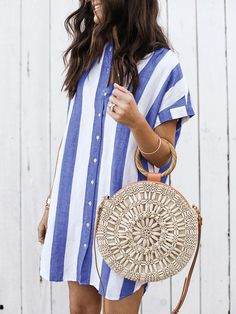Women Casual Striped Straight Party Dress Ladies Short Sleeve Stand Collar Summer Beach Sweet Dress Mini Dress Size S Color Blue Look Fashion, Womens Fashion, Ladies Fashion, Fashion Quiz, Ladies Outfits, Woman Outfits, Feminine Fashion, Fashion Boots, Fashion Ideas