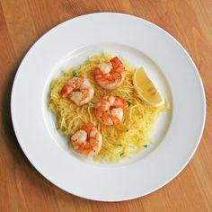 Roasted shrimp over spaghetti squash.