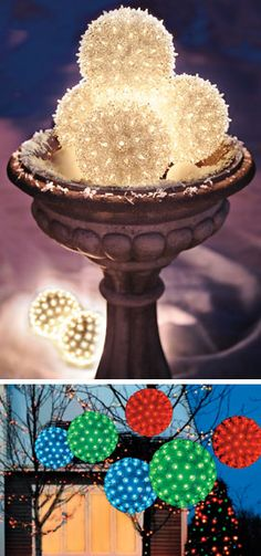 "Indoors or out, these 7"" Lighted Spheres are a stunning way to decorate this holiday season. #SolutionsPinIt"