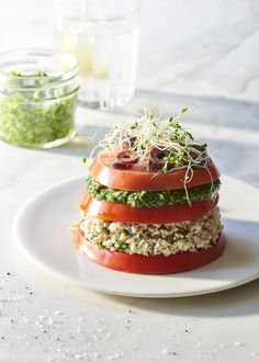 Jennifer Cornbleet's raw vegan tomato stacks with mock tuna and pesto are quick, easy, and delicious!