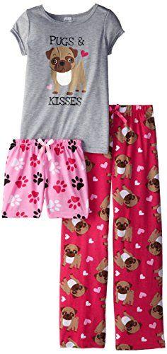 Sleep & Co Big Girls' Pugs 3 Piece Pajama Sleep Set, Pink/Grey, 12 Sleep & Co