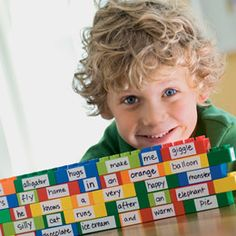 add words to building blocks - great for new readers in word recognition and for story telling in more experienced readers (good for multiples to put a story together as a team) Making Sentences, Silly Sentences, Classroom Games, Future Classroom, Learning Games, Kids Learning, Teachers Corner, Speech And Language, Language Arts