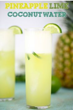 this Pineapple & Lime Coconut Water Recipe Need a break? Try this Pineapple & Lime Coconut Water RecipeNeed a break? Try this Pineapple & Lime Coconut Water Recipe Coconut Water Recipes, Infused Water Recipes, Fruit Infused Water, Coconut Water Drinks, Infused Waters, Fruit Water Recipes, Coconut Water Smoothie, Best Flavored Water, Jelly Recipes