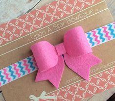 Felt bow headband in pink by UponAStarBowtique on Etsy
