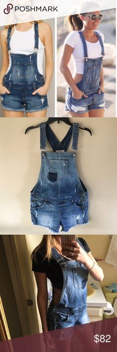 Guess • Vintage denim overall playsuit romper Vintage Guess denim jean overall style romper playsuit. Distressed look. Super cute, sexy and unique! Adjustable straps. Clips in front on both straps. Tag says L but vintage sizing runs small. Fits S/M. Not identical to cover photos but very similar. Same fit. Guess Pants Jumpsuits & Rompers
