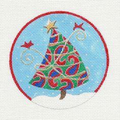 Julie Mar Cardinals & Christmas Tree handpainted Needlepoint Canvas Ornament