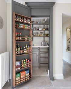 Happy Monday to you all! Here's a shot of the walk in pantry concealed behind … Happy Monday to you all! Here's a shot of the walk in pantry concealed behind a Longford tall cupboard door… this area is just off the… - Own Kitchen Pantry Pantry Shelving, Pantry Storage, Kitchen Storage, Food Storage, Shelving Ideas, Storage Ideas, Pantry Organization, Storage Bins, Pantry Ideas