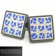 【DuncanWalton】Melbourneブルー2トーンの鮮やかカフス(カフリンクス/カフスボタン)